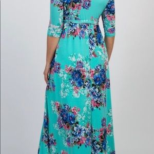 Pinkblush mint floral faux wrap maxi dress